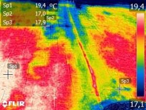 Imagen termográfica de filtraciones en cubierta