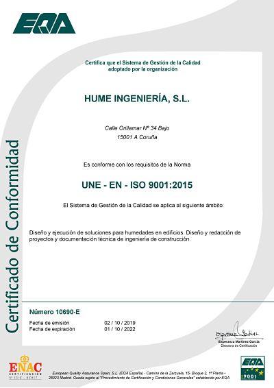 hume ingeniería ISO 9001 calidad